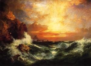 Thomas Moran - Sunset near Land's End, Cornwall, England
