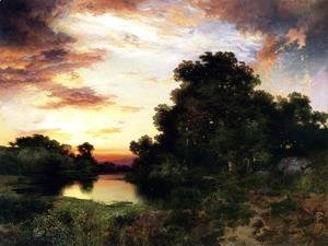Thomas Moran - Sunset on Long Island