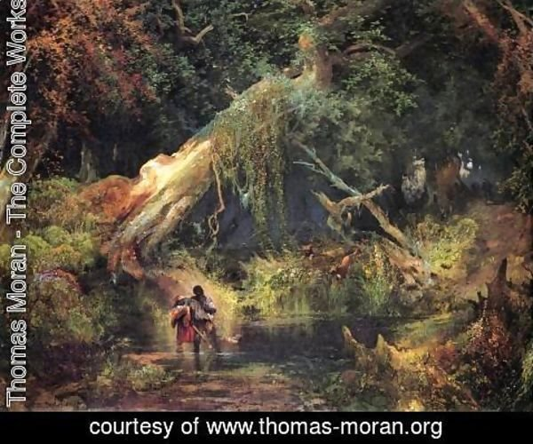 Thomas Moran - Slave Hunt, Dismal Swamp, Virginia