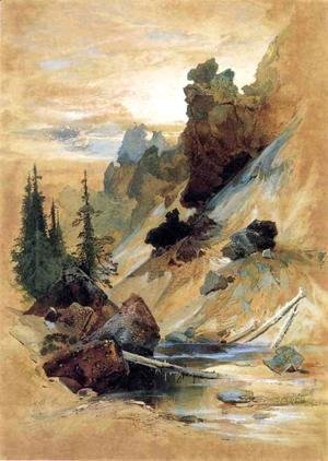Thomas Moran - The Devils Den on Cascade Creek