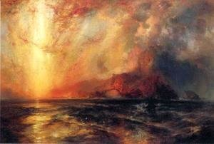 Thomas Moran - Fiercely the Red Sun Descending, Burned His Way across the Heavens