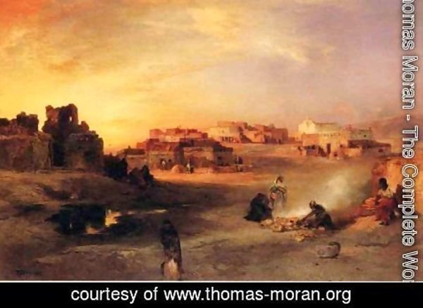 Thomas Moran - Indian Pueblo, Laguna, New Mexico