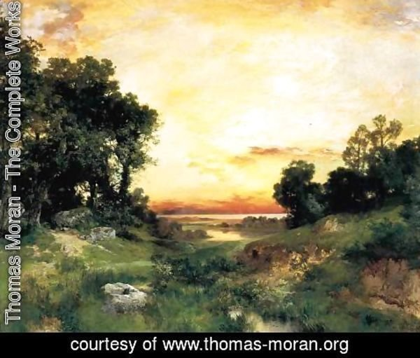 Thomas Moran - Sunset, Long Island Sound