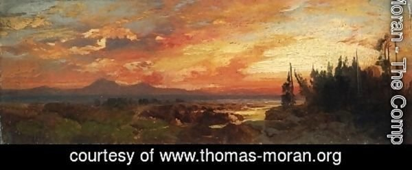 Thomas Moran - Sunset on the Great Salt Lake, Utah