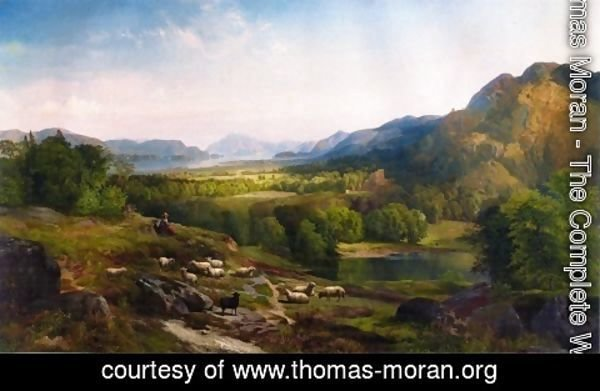 Thomas Moran - Shepherdess Watching Her Flock