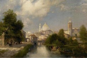Thomas Moran - The City of Mexico detail 1894