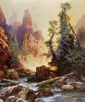Thomas Moran - Below the Towers of Tower Falls