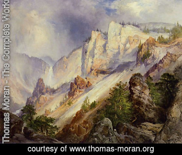Thomas Moran - A Passing Shower in the Yellowstone Canyon