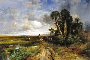 Thomas Moran - Bringing Home the Cattle - Coast of Florida, 1879