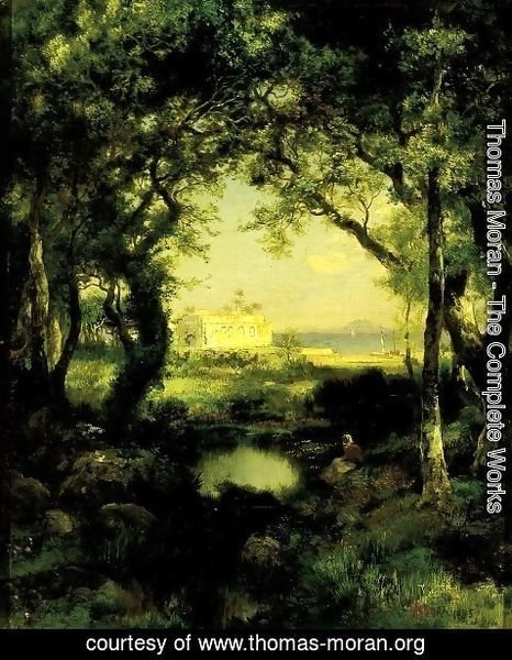 Thomas Moran - A Mexican Hacienda, Lake Cuitzeo