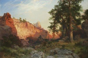 Thomas Moran - Red Rock, Arizona (Coconino Pines and Cliff, Arizona)