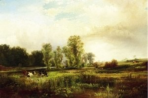 Thomas Moran - Summer Landscape with Cows