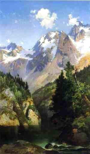 Thomas Moran - A Rocky Mountain Peak  Idaho Territory