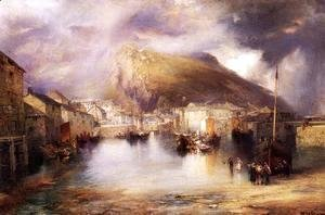 Thomas Moran - An English Fishing Village  Polperro  Cornwall