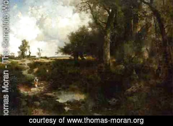Thomas Moran - Crossing The Brook Near Plainfield  New Jersey