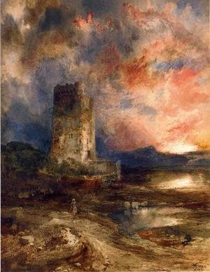 Thomas Moran - Sunset On The Moor
