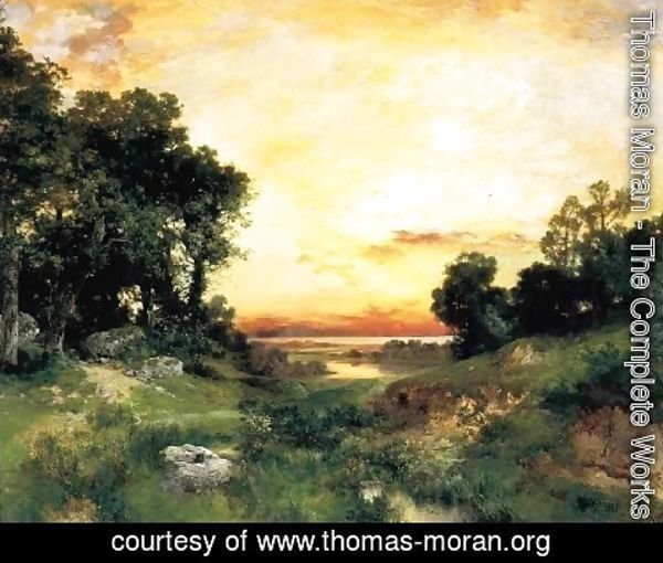 Thomas Moran - Sunset  Long Island Sound