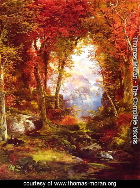 Thomas Moran - The Autumnal Woods (Under The Trees)