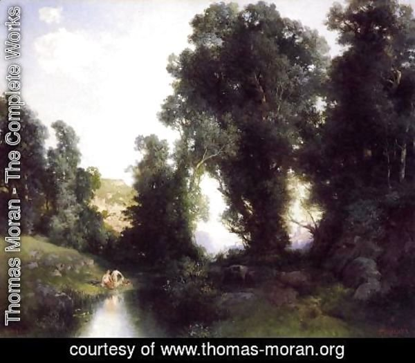 Thomas Moran - The Bathing Hole  Cuernavaca  Mexico