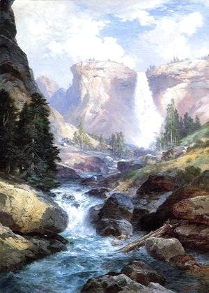 Thomas Moran - Waterfall In Yosemite